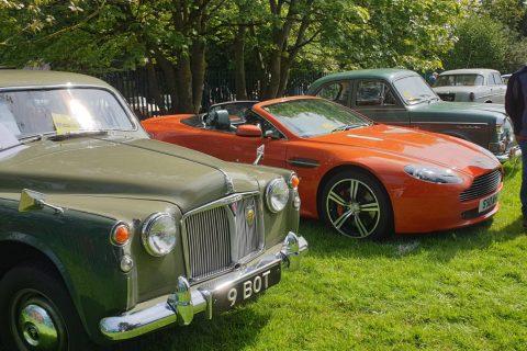 Sports car among classic cars