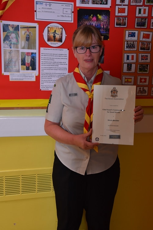 Nicki achieved Chief scout's commendation for good service