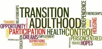 Diagram with words depicting preparation for adulthood